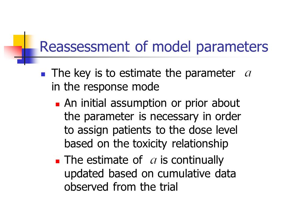 Reassessment of model parameters The key is to estimate the parameter in the response mode An initial assumption or prior about the parameter is neces