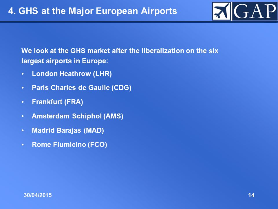 30/04/201514 4. GHS at the Major European Airports We look at the GHS market after the liberalization on the six largest airports in Europe: London He