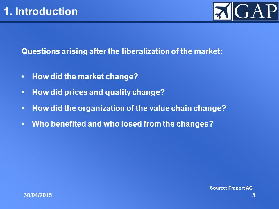 1. Introduction Questions arising after the liberalization of the market: How did the market change? How did prices and quality change? How did the or