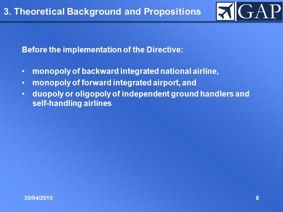 30/04/20158 3. Theoretical Background and Propositions Before the implementation of the Directive: monopoly of backward integrated national airline, m