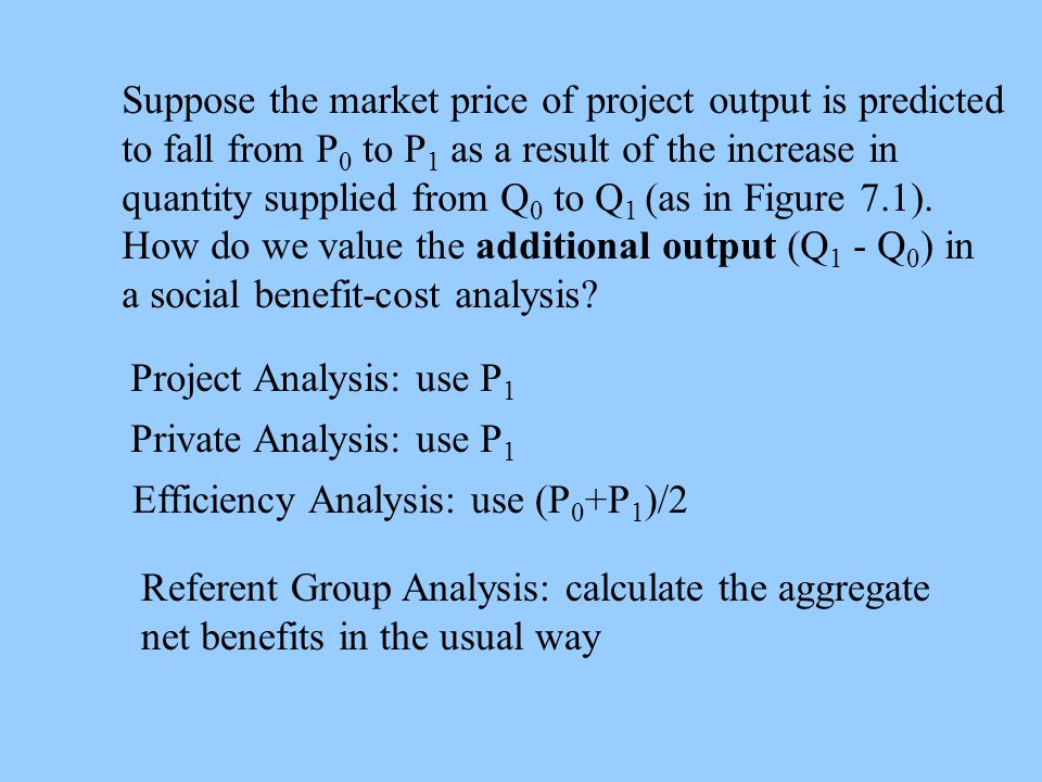 Suppose the market price of project output is predicted to fall from P 0 to P 1 as a result of the increase in quantity supplied from Q 0 to Q 1 (as i