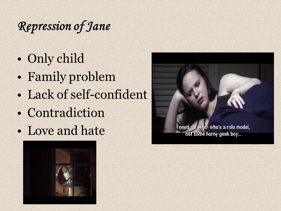 Repression of Jane Only child Family problem Lack of self-confident Contradiction Love and hate