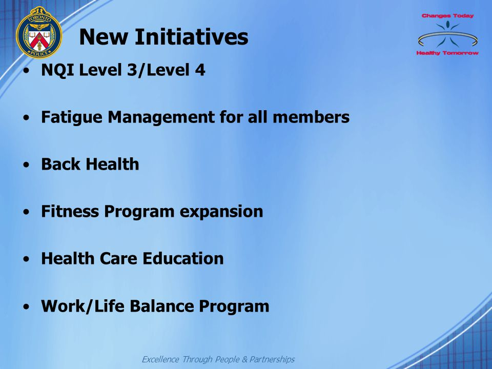 Excellence Through People & Partnerships New Initiatives NQI Level 3/Level 4 Fatigue Management for all members Back Health Fitness Program expansion