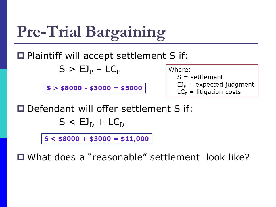 Pre-Trial Bargaining  Plaintiff will accept settlement S if: S > EJ P – LC P  Defendant will offer settlement S if: S < EJ D + LC D  What does a reasonable settlement look like.
