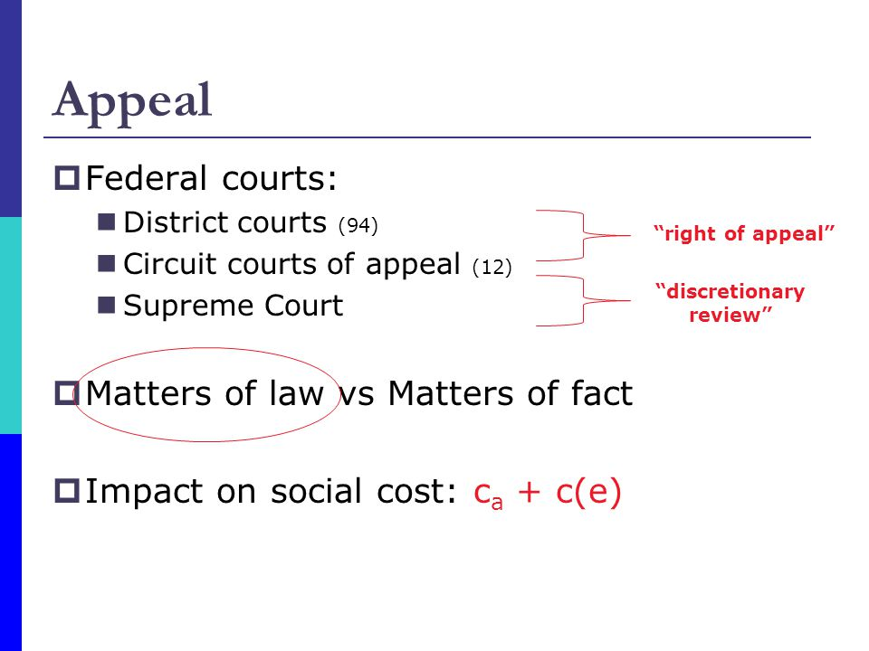 Appeal  Federal courts: District courts (94) Circuit courts of appeal (12) Supreme Court  Matters of law vs Matters of fact  Impact on social cost: c a + c(e) right of appeal discretionary review