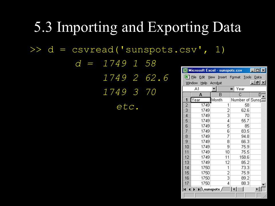 >> d = csvread( sunspots.csv , 1) d = 1749 1 58 1749 2 62.6 1749 3 70 etc.