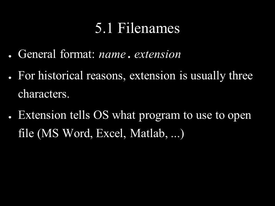 5.1 Filenames ● General format: name.