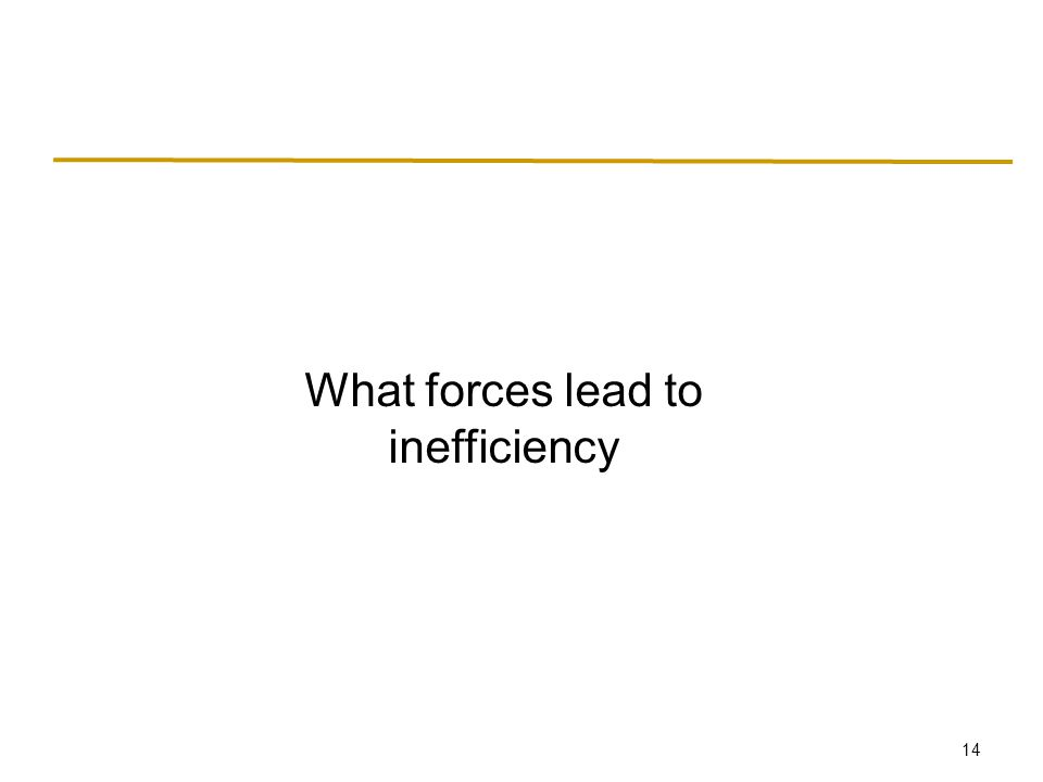 14 What forces lead to inefficiency