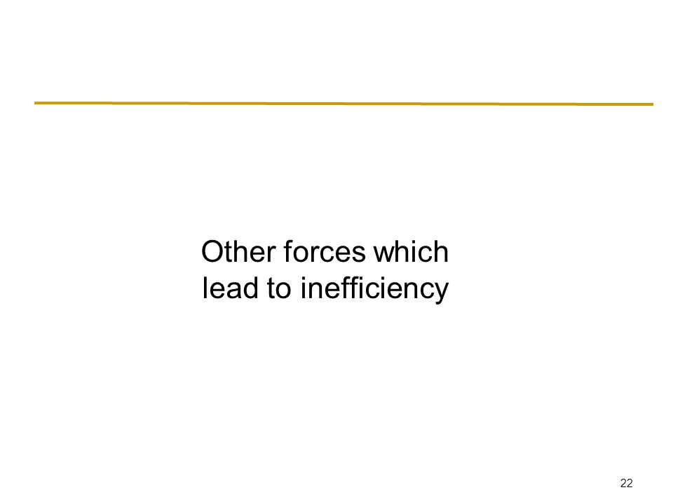 22 Other forces which lead to inefficiency