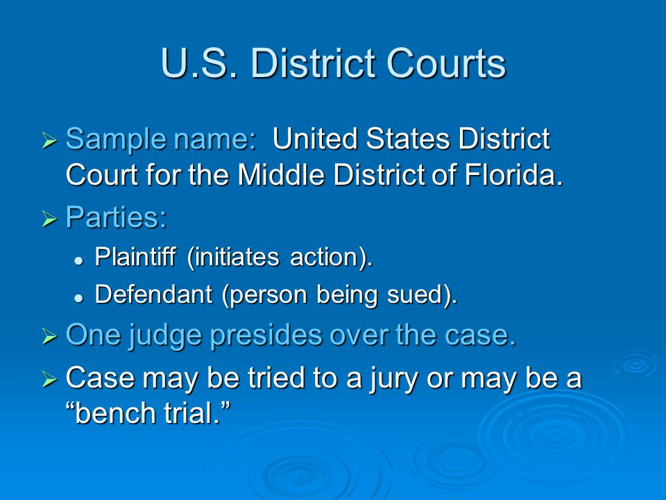 U.S. District Courts  91 U.S. district courts.  Arranged geographically; at least one within each state. But NOT connected with state government. Bu