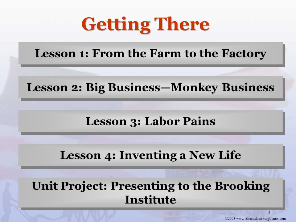 ©2003 www.BeaconLearningCenter.com 4 Getting There Lesson 1: From the Farm to the Factory Lesson 2: Big Business—Monkey Business Lesson 3: Labor Pains Lesson 4: Inventing a New Life Unit Project: Presenting to the Brooking Institute