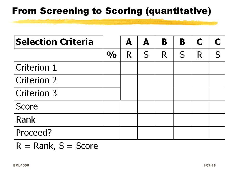 EML4550 1-07-18 From Screening to Scoring (quantitative)