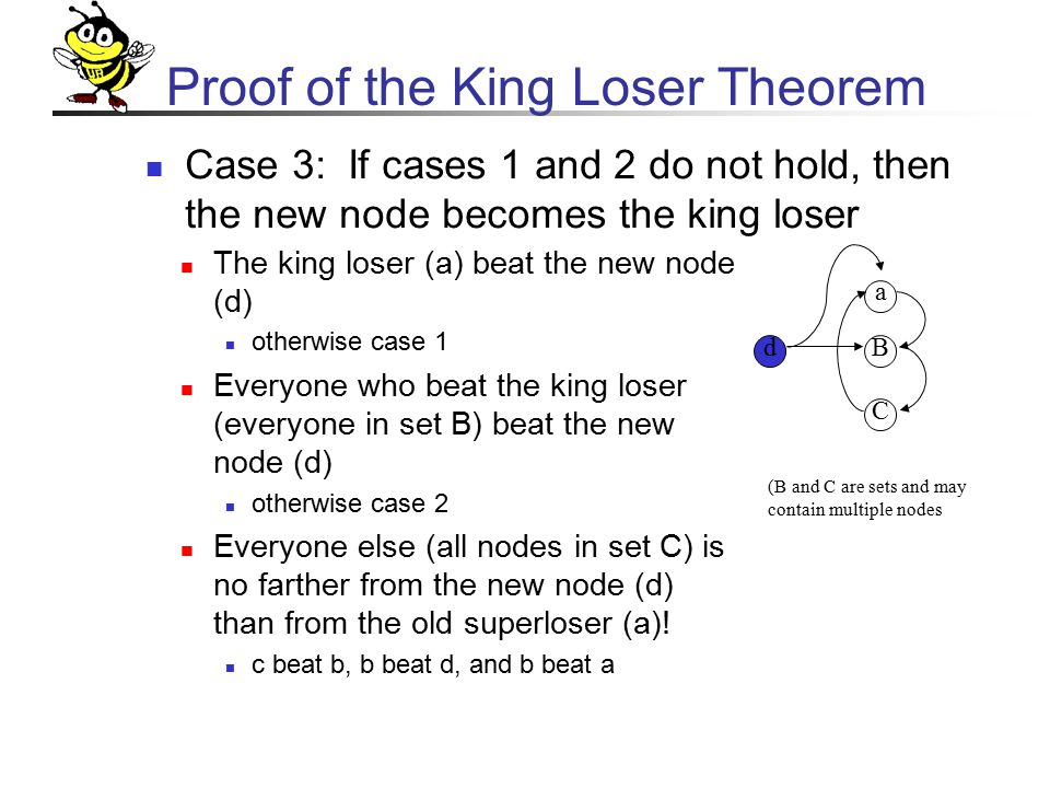 Proof of the King Loser Theorem Case 3: If cases 1 and 2 do not hold, then the new node becomes the king loser a B C d The king loser (a) beat the new node (d) otherwise case 1 Everyone who beat the king loser (everyone in set B) beat the new node (d) otherwise case 2 Everyone else (all nodes in set C) is no farther from the new node (d) than from the old superloser (a).
