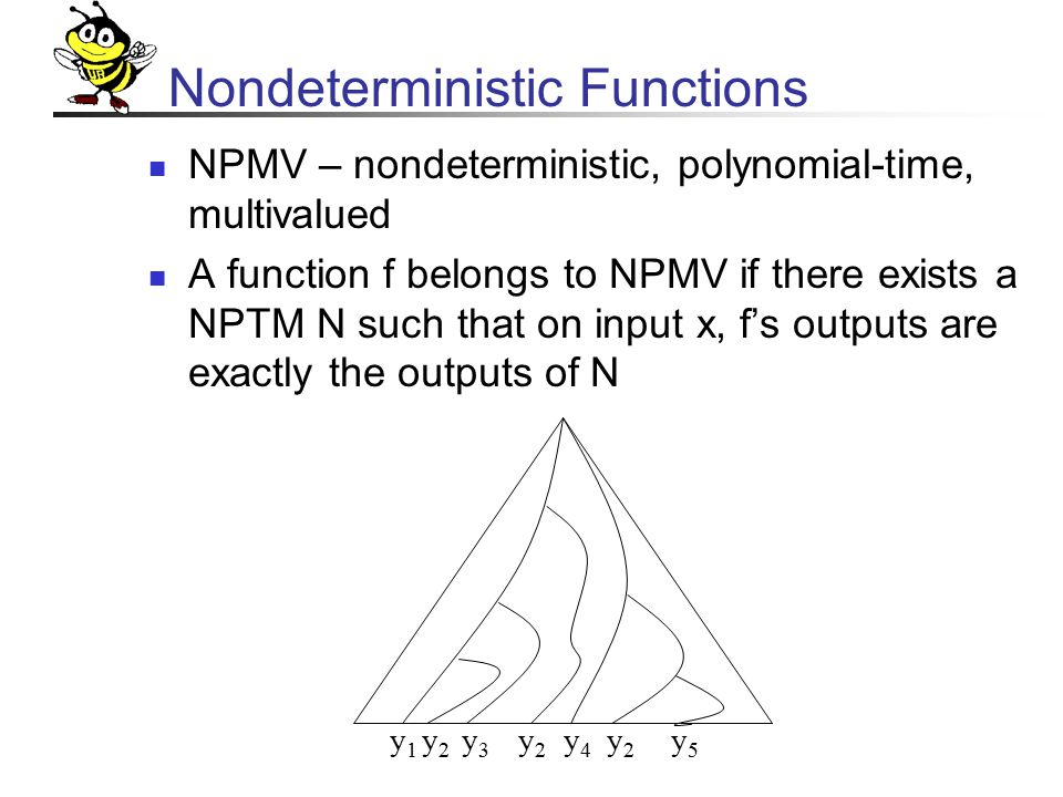 Nondeterministic Functions NPMV – nondeterministic, polynomial-time, multivalued A function f belongs to NPMV if there exists a NPTM N such that on input x, f's outputs are exactly the outputs of N y1y1 y2y2 y3y3 y2y2 y4y4 y2y2 y5y5