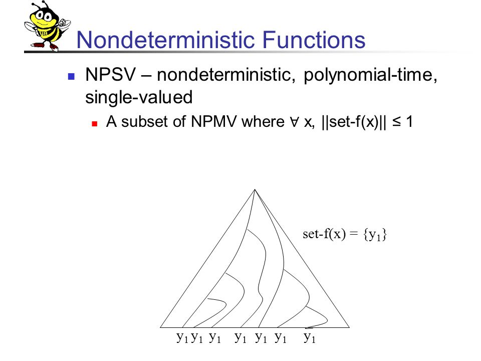 Nondeterministic Functions NPSV – nondeterministic, polynomial-time, single-valued A subset of NPMV where ∀ x, ||set-f(x)|| ≤ 1 y1y1 y1y1 y1y1 y1y1 y1y1 y1y1 y1y1 set-f(x) = {y 1 }