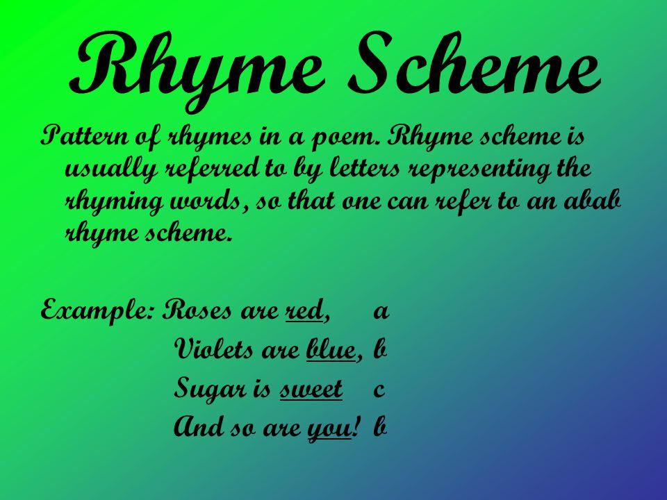 Rhyme Scheme Pattern of rhymes in a poem.