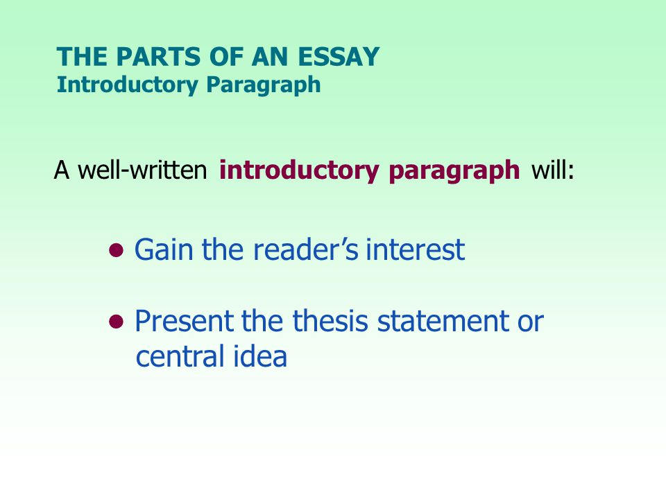 THE PARTS OF AN ESSAY A well-written introductory paragraph will: Gain the reader's interest Present the thesis statement or central idea Introductory Paragraph