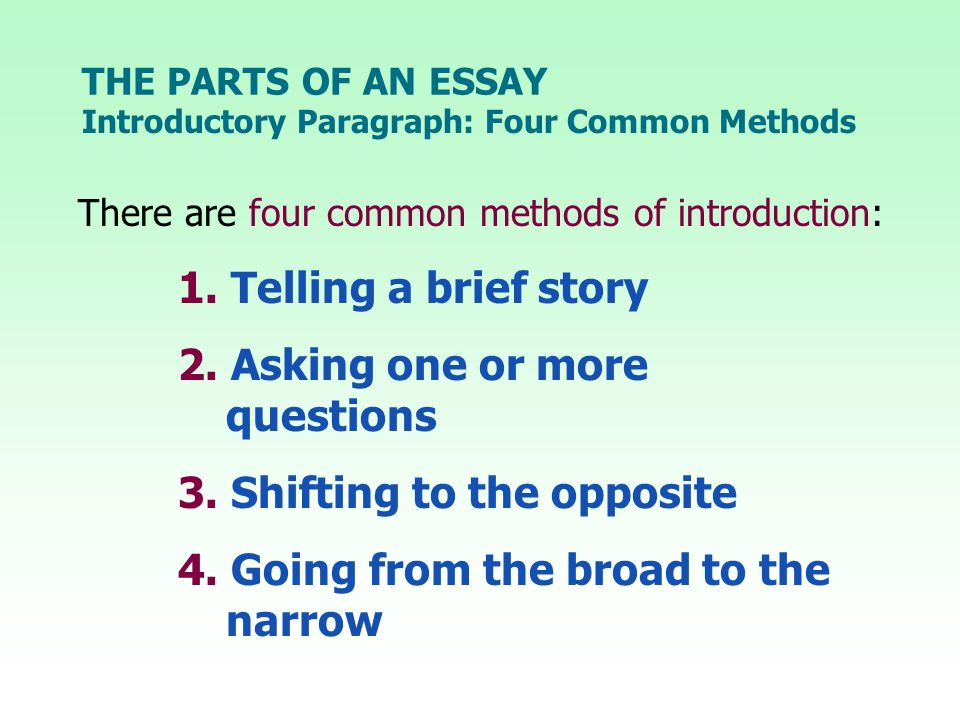 THE PARTS OF AN ESSAY There are four common methods of introduction: 1.