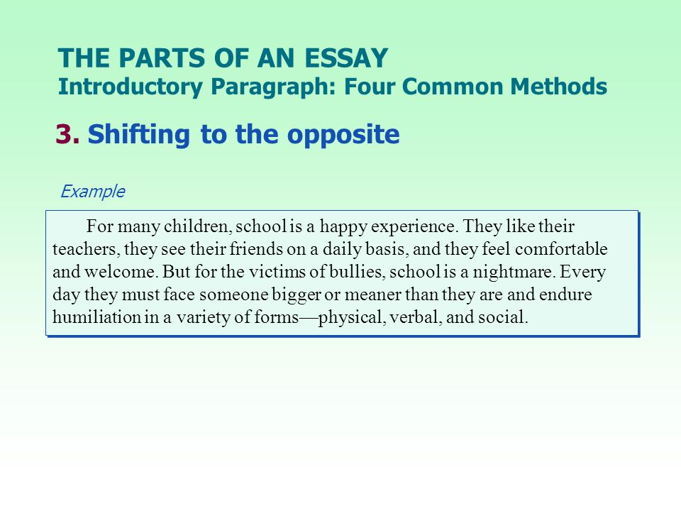 THE PARTS OF AN ESSAY 3.