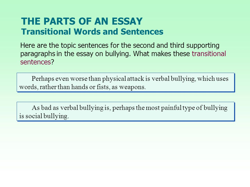 THE PARTS OF AN ESSAY Transitional Words and Sentences Here are the topic sentences for the second and third supporting paragraphs in the essay on bullying.