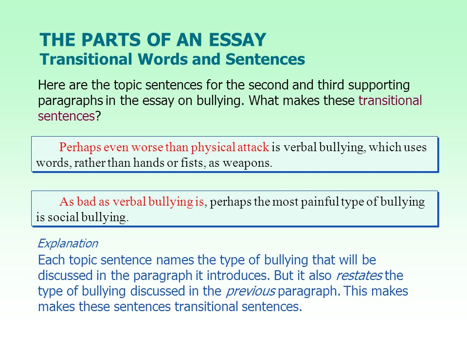 THE PARTS OF AN ESSAY Transitional Words and Sentences Perhaps even worse than physical attack is verbal bullying, which uses words, rather than hands or fists, as weapons.