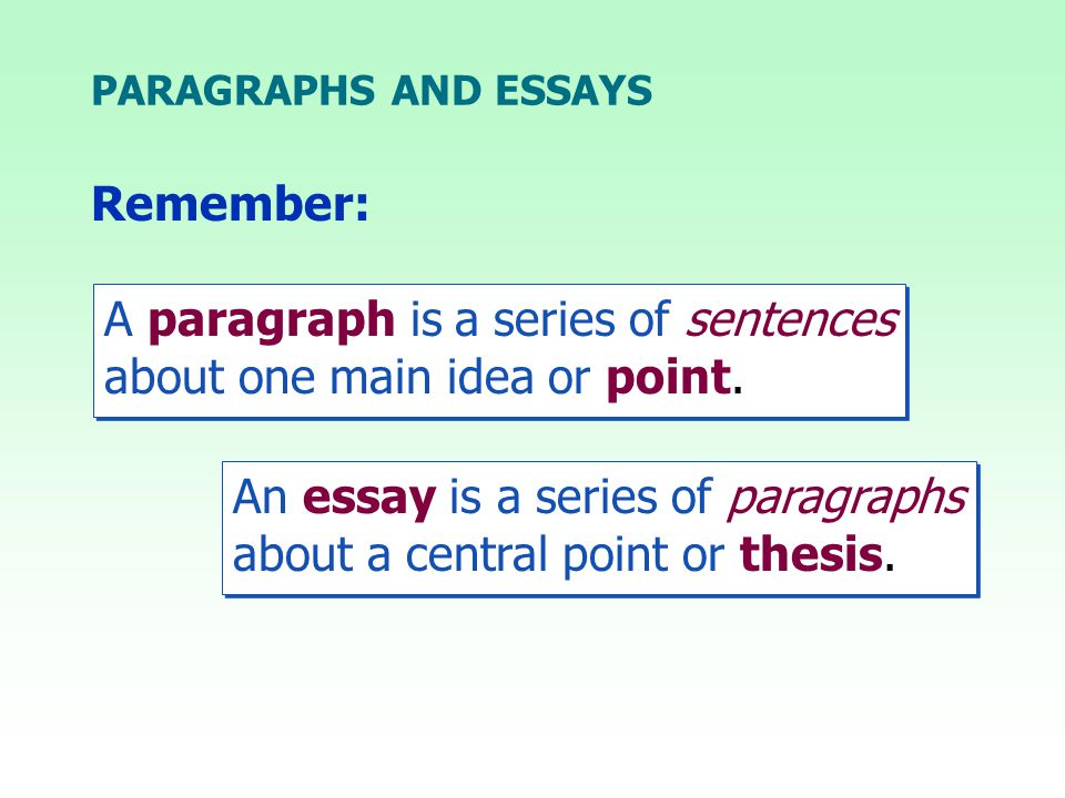An essay is a series of paragraphs about a central point or thesis.