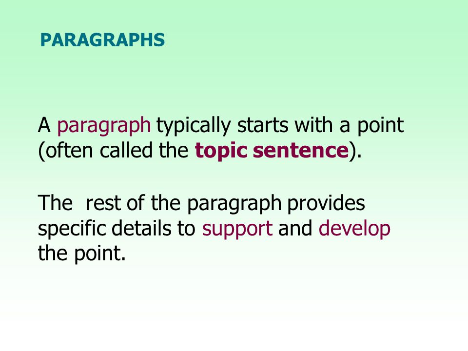 The rest of the paragraph provides specific details to support and develop the point.