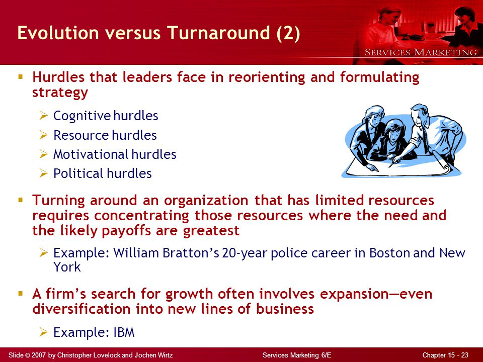 Slide © 2007 by Christopher Lovelock and Jochen Wirtz Services Marketing 6/E Chapter 15 - 23 Evolution versus Turnaround (2)  Hurdles that leaders fa