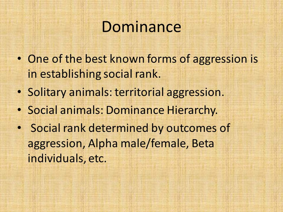 Dominance One of the best known forms of aggression is in establishing social rank.