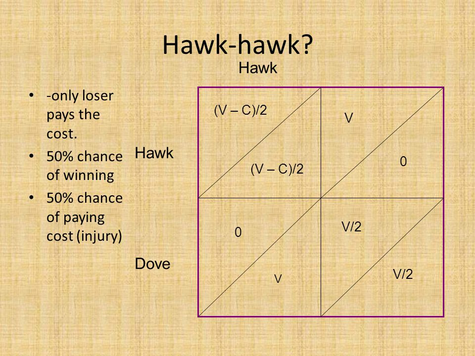 Hawk-hawk. -only loser pays the cost.