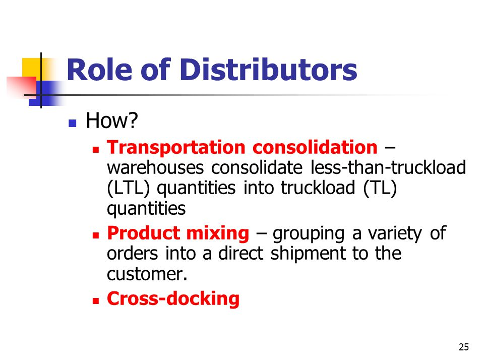 25 Role of Distributors How.
