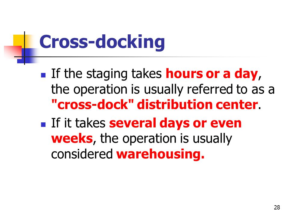 28 Cross-docking If the staging takes hours or a day, the operation is usually referred to as a cross-dock distribution center.