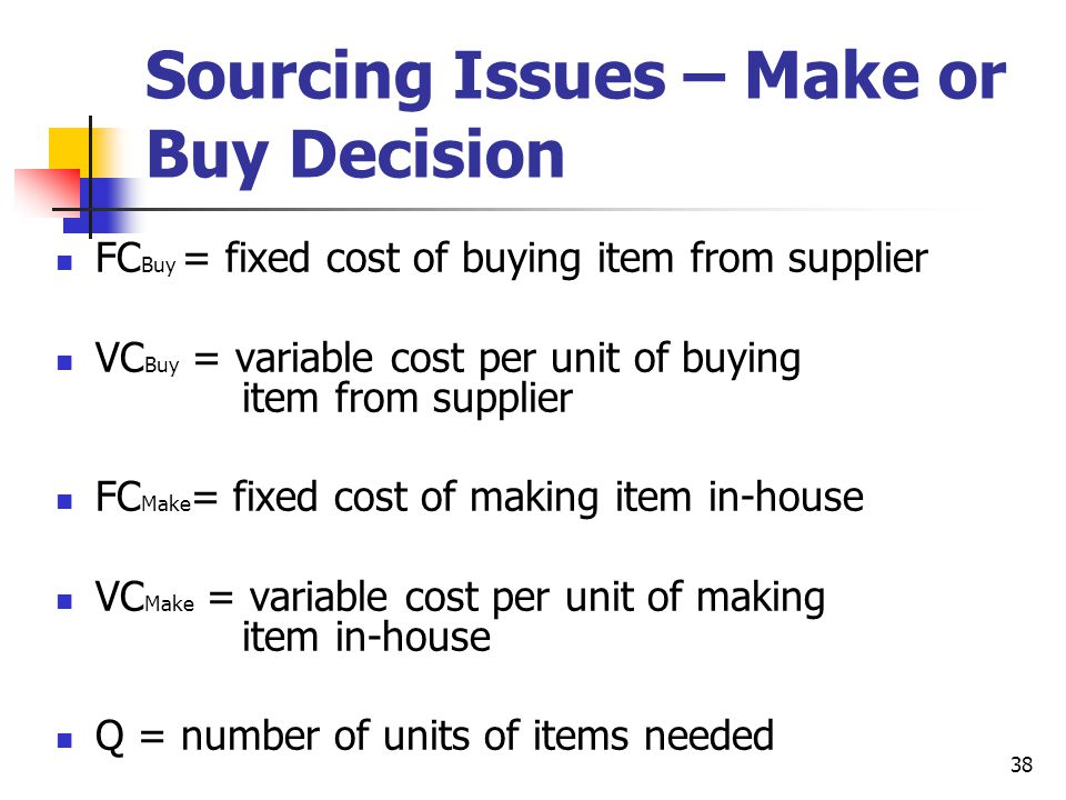 38 Sourcing Issues – Make or Buy Decision FC Buy = fixed cost of buying item from supplier VC Buy = variable cost per unit of buying item from supplier FC Make = fixed cost of making item in-house VC Make = variable cost per unit of making item in-house Q = number of units of items needed