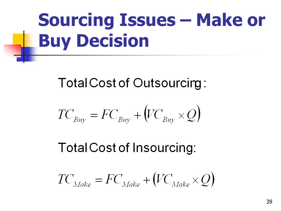 39 Sourcing Issues – Make or Buy Decision