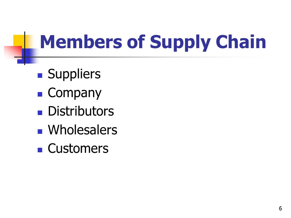6 Members of Supply Chain Suppliers Company Distributors Wholesalers Customers