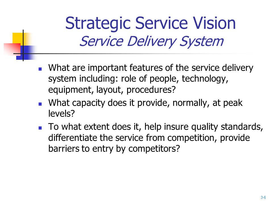 Strategic Service Vision Service Delivery System What are important features of the service delivery system including: role of people, technology, equ