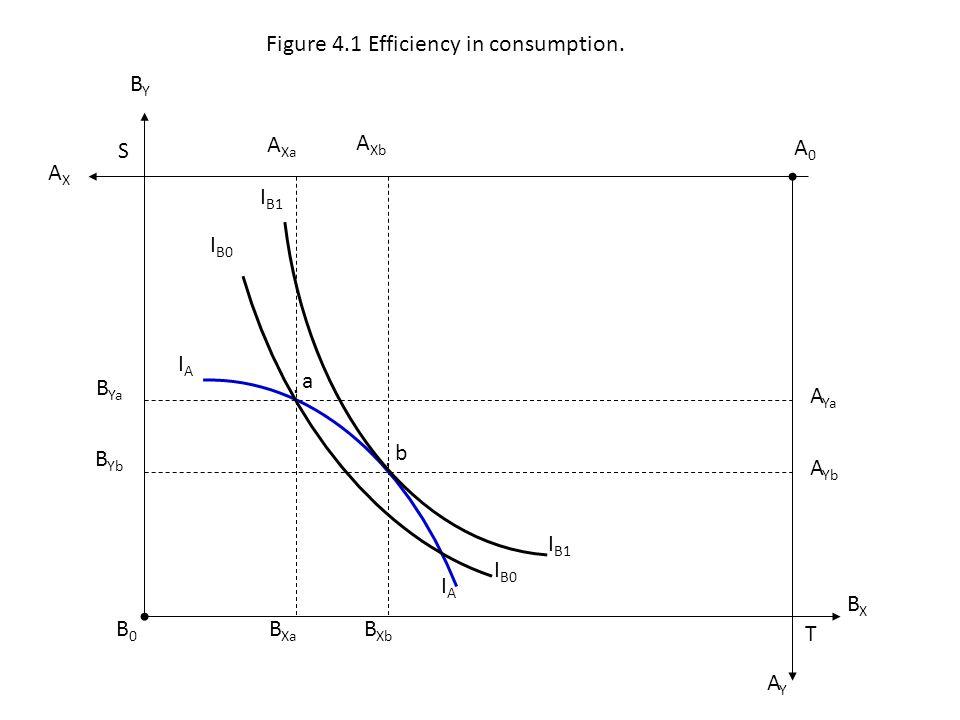 .. a B Xa b A Xa A Xb AXAX A Ya A Yb B Xb B Yb B Ya I B0 I B1 I B0 IAIA IAIA B0B0 A0A0 BXBX BYBY AYAY T S Figure 4.1 Efficiency in consumption.