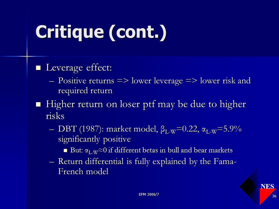 NES EFM 2006/7 36 Critique (cont.) Leverage effect: Leverage effect: –Positive returns => lower leverage => lower risk and required return Higher retu