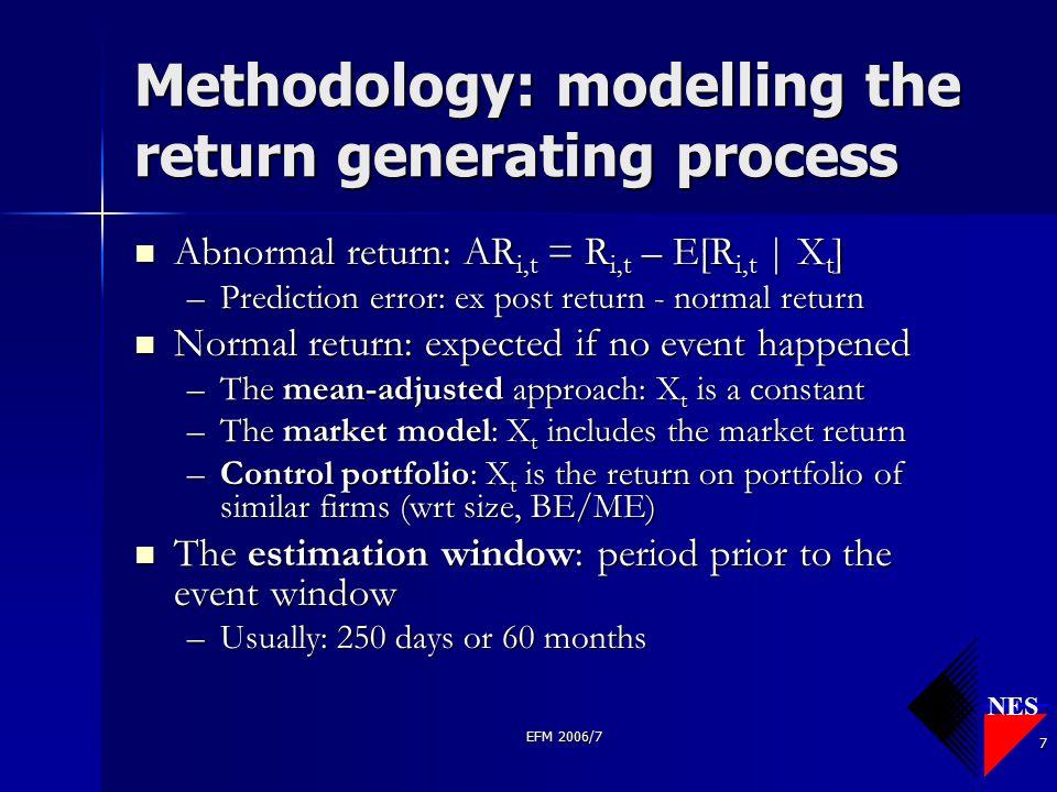 NES EFM 2006/7 7 Methodology: modelling the return generating process Abnormal return: AR i,t = R i,t – E[R i,t | X t ] Abnormal return: AR i,t = R i,
