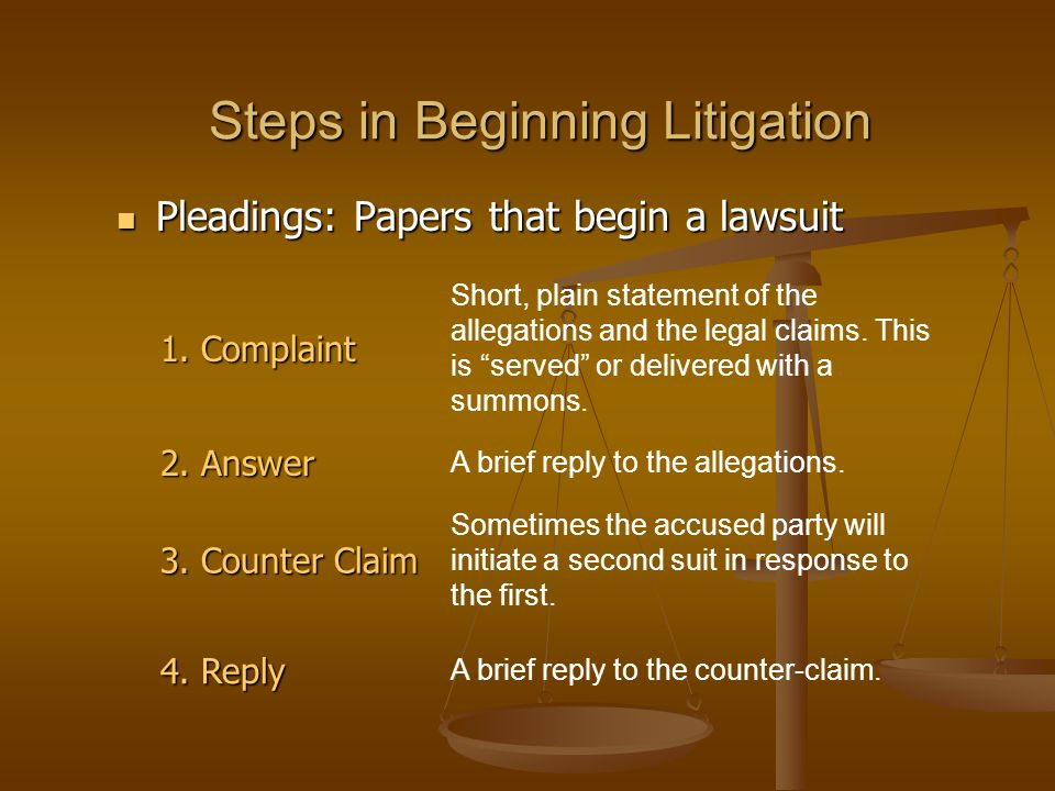Steps in Beginning Litigation Pleadings: Papers that begin a lawsuit Pleadings: Papers that begin a lawsuit 1. Complaint Short, plain statement of the