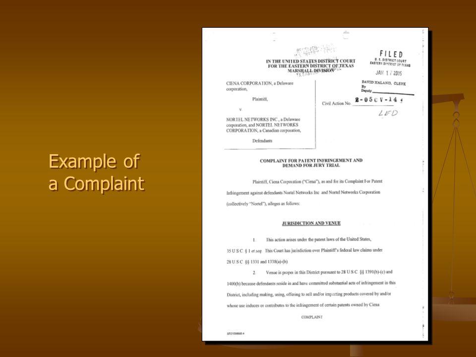 Example of a Complaint Example of a Complaint