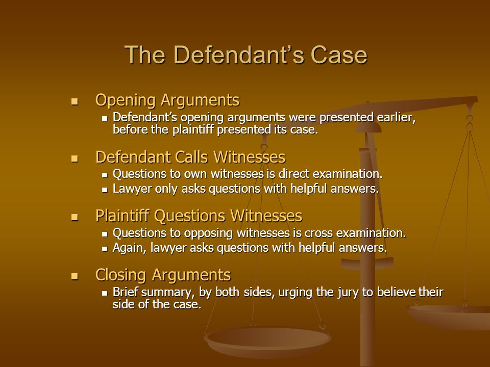 The Defendant's Case Opening Arguments Opening Arguments Defendant's opening arguments were presented earlier, before the plaintiff presented its case
