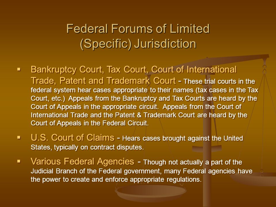  Bankruptcy Court, Tax Court, Court of International Trade, Patent and Trademark Court - These trial courts in the federal system hear cases appropri