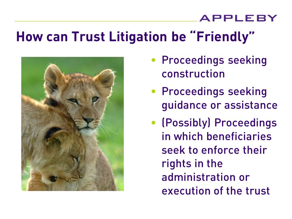 How can Trust Litigation be Friendly Proceedings seeking construction Proceedings seeking guidance or assistance (Possibly) Proceedings in which beneficiaries seek to enforce their rights in the administration or execution of the trust