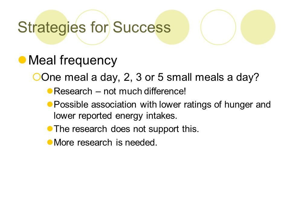 Strategies for Success Meal frequency  One meal a day, 2, 3 or 5 small meals a day? Research – not much difference! Possible association with lower r