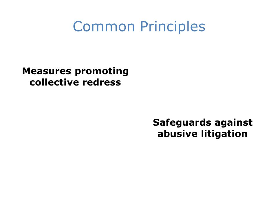 Common Principles Measures promoting collective redress Safeguards against abusive litigation
