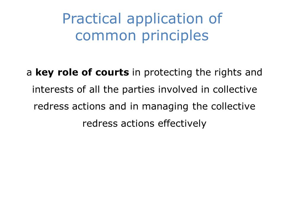 Practical application of common principles a key role of courts in protecting the rights and interests of all the parties involved in collective redress actions and in managing the collective redress actions effectively