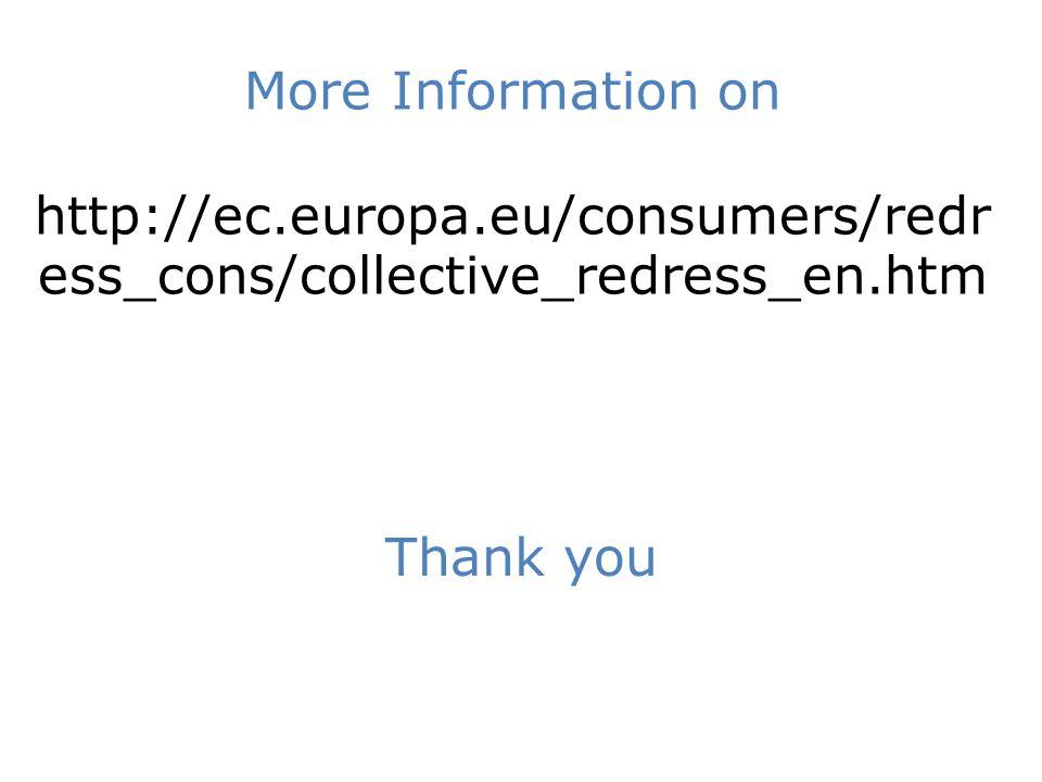 More Information on http://ec.europa.eu/consumers/redr ess_cons/collective_redress_en.htm Thank you