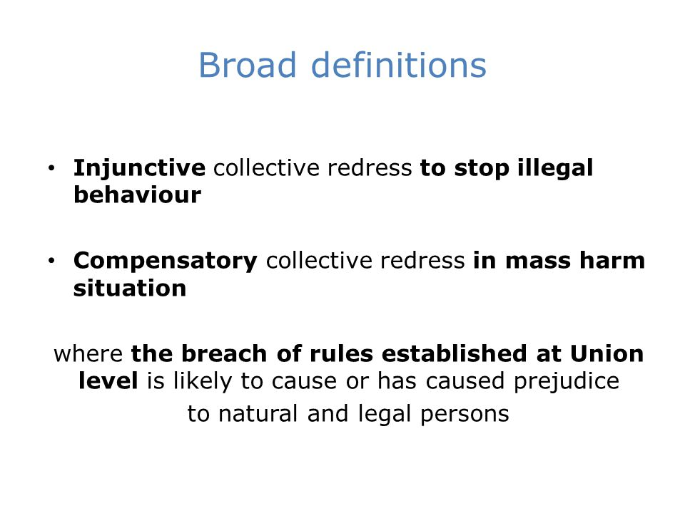 Injunctive collective redress legal mechanism that ensures a possibility to claim cessation of illegal behaviour collectively by two or more natural or legal persons or by an entity entitled to bring a representative action