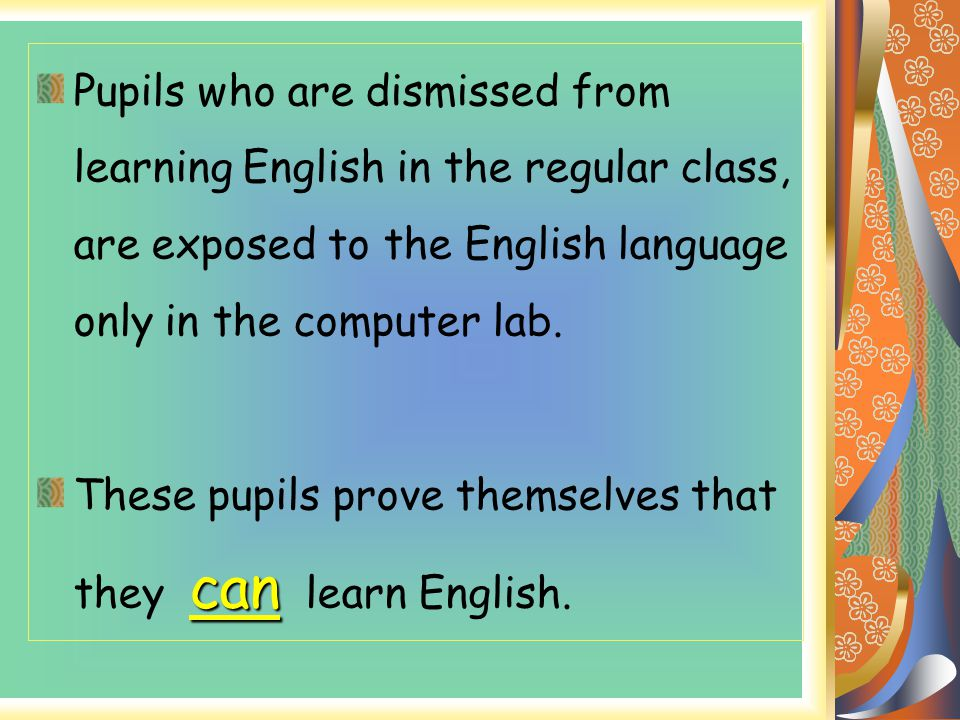 Pupils who are dismissed from learning English in the regular class, are exposed to the English language only in the computer lab.